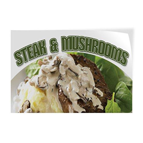Mushroom Steak - Steak & Mushrooms Indoor Store Sign Vinyl Decal Sticker - 19.5inx48in,