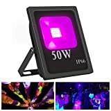 Exulight UV LED Flood Light, 50W High Power UV Ultraviolet Blacklight 85V-265V AC IP66 Waterproof for Parties,Curing, Glue, Blacklight, Fishing, Aquarium with US Plug (50W)
