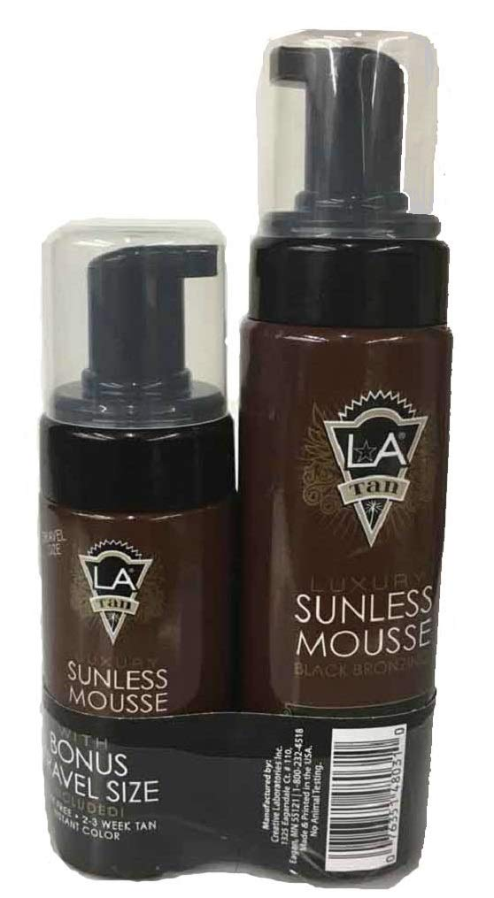 LA Tan Luxury Sunless Mousse Black Bronzer 7 oz. With Free 2.5 oz Travel Size by LA Tan