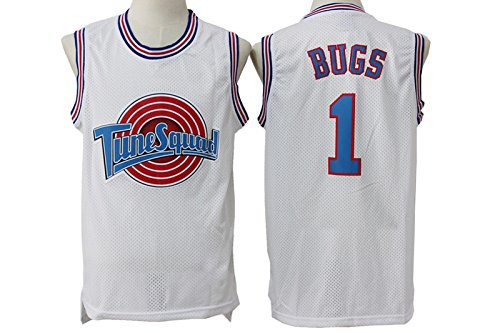 Price comparison product image Mens Tune Squad 1 Bugs Bunny Shirts Bugs White Mesh Space Jam Movie Jersey Size S