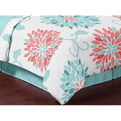 Turquoise and Coral Emma 3 Piece Childrens, Teen, Kids Modern Full/Queen Bedding Set Collection: Home & Kitchen