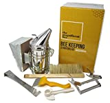 6 Piece Beekeeping Supplies Starters Kit - Bee Hive Smoker, Uncapping Fork Tool, Bee Brush, Frame Grip, Extracting Scraper, Bee Feeder Tool