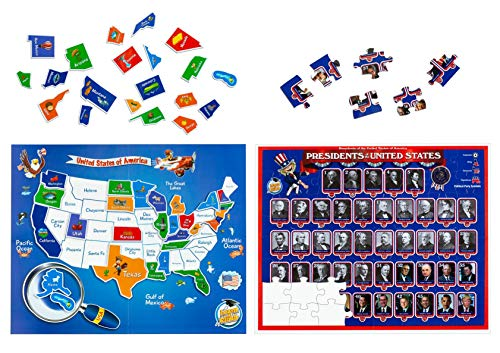 2-in-1 USA Map Puzzle for Kids & Presidents Puzzle Kit – Ages 4,5,6,7,8. United States Puzzle with Over 90 Thick Magnetic Pieces