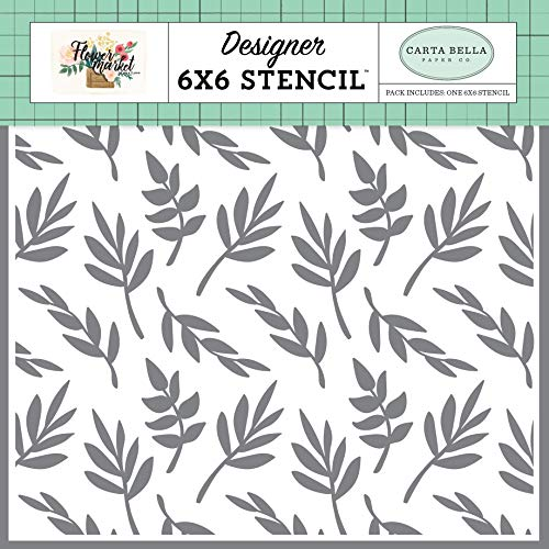 Carta Bella Paper Company CBMK96034 Delightful Branches Stencil, Teal, Pink, tan, Green, Cream