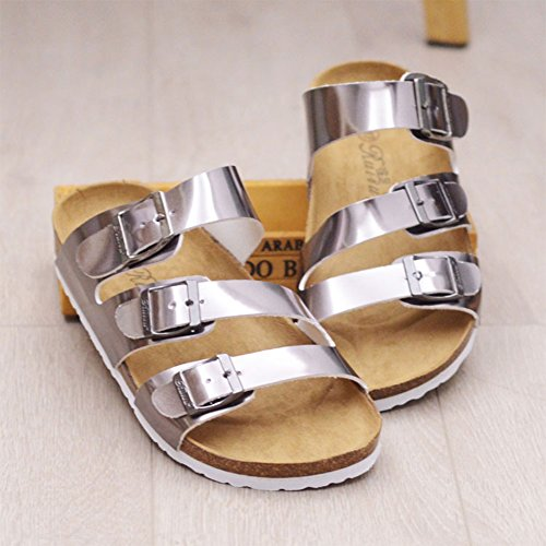 Argent Mules Sandals Pantoufles Beach Tongs Summer Femme wYHqv5wx