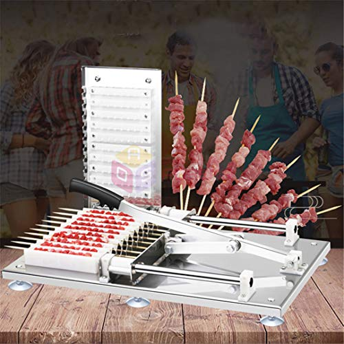 H-Henrne Manual Satay Skewer Machine BBQ Stainless Steel Mutton Kebab Lamb Skewer Tools Doner Kebab Meat Wear String Machine