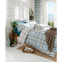 Catherine Lansfield Kelso Tartan Design Duvet Set with Co-ordinating Checked Reverse - Duck Egg Blue (Single) by Catherine Lansfield