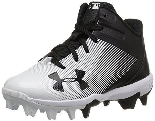 Under Armour Boys' Leadoff Mid Jr. RM Baseball Shoe, Black (011)/White, 1 by Under Armour (Image #1)