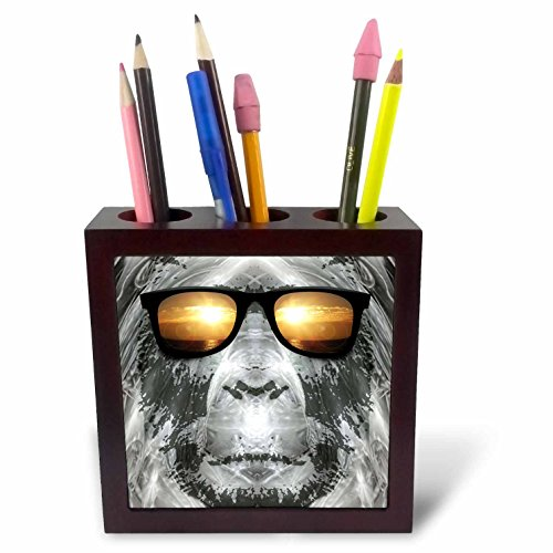 (3dRose ph_19405_1 Bigfoot in Shades Bigfoot or Sasquatch is Pictured in Style Wearing Sunglasses Tile Pen Holder, 5-Inch)