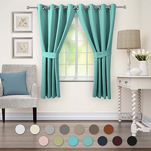 VEEYOO Blackout Curtains Grommet Room Darkening Window Curtains and Drapes for Living Room and Bedroom, 2 Panels, 52