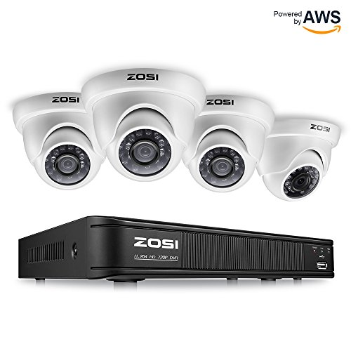 Cctv Kit - ZOSI 8-Channel HD-TVI 720P Video Security Camera System,1080N Surveillance DVR Recorder and (4) 1.0MP 720P(1280TVL) Weatherproof Outdoor/Indoor Dome CCTV Camera with Night Vision(No Hard Drive)