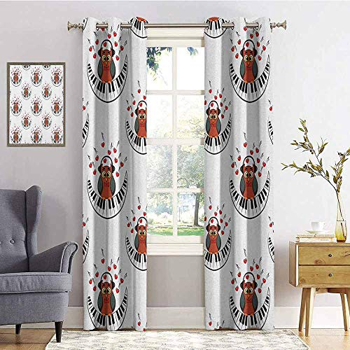 hengshu Owls Room Darkened Insulation Grommet Curtain Musician Pianist Owl with Headphones and Playing a Moon Shaped Piano Clipart Style Living Room W96 x L96 Inch Brown Grey Red]()