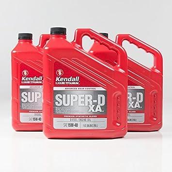 Kendall 1056016 super-d XA Premium sintético mezcla 15 W-40 Aceite de motor diesel con líquido titanio - 1 Gallon jarra (caso de 4): Amazon.es: Coche y moto