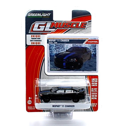MOPAR '11 CHARGER (Black) * GL Muscle Series 14 * 2015 Greenlight Collectibles Limited Edition 1:64 Scale Die-Cast Vehicle & Collector Trading (Black Muscle)