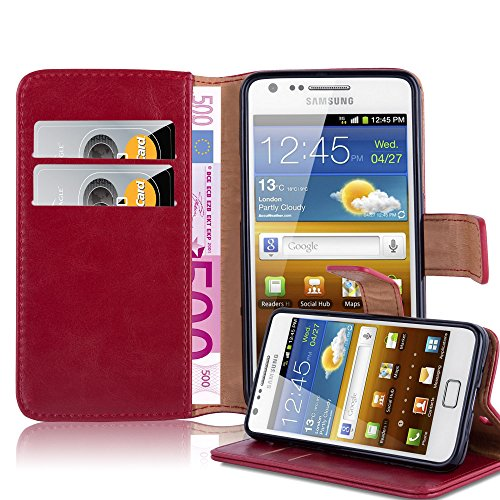 Cadorabo Book Case Works with Samsung Galaxy S2 / S2 Plus in Wine RED - with Magnetic Closure, Stand Function and Card Slot - Wallet Etui Cover Pouch PU Leather Flip (Phone Cover Galaxy Samsung S2)