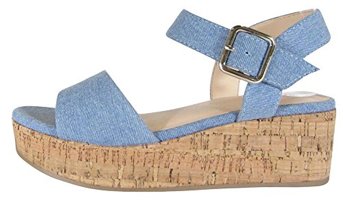 Cambridge Select Women's Open Toe Single Band Buckled Ankle Strap Chunky Platform Wedge Sandal,8.5 B(M) US,Light Blue ()
