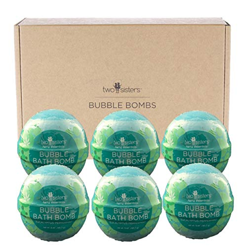 6-Hemp-Essentials-Bubble-Bath-Bombs-by-Two-Sisters-Large-99-Natural-Fizzies-For-Women-Teens-and-Kids-Moisturizes-Dry-Sensitive-Skin-Releases-Color-Scent-Bubbles-Eucalyptus-Peppermint