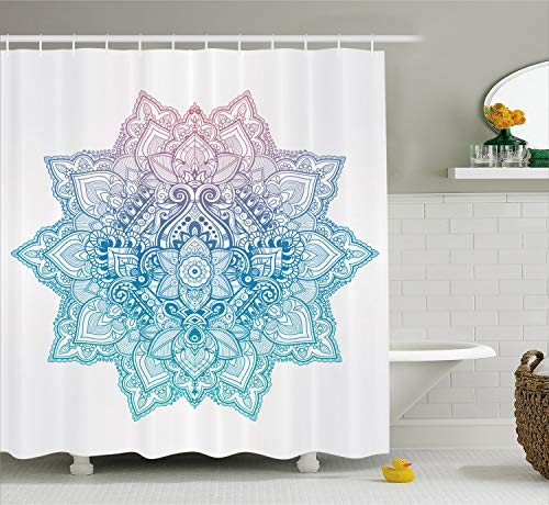 Ambesonne Lotus Shower Curtain, Bohemian Tattoo Style Zen Pastel Toned Mandala Abstract Lotus Flower Design, Fabric Bathroom Decor Set with Hooks, 75 Inches Long, Lilac Blue
