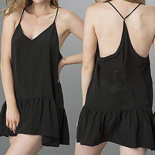 VENMO Mujer Verano Sin Mangas de Cuello en V Casual Loose Vestido Backless Mini Vestido Negro Style 2