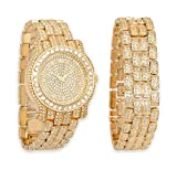 Gold Iced Out Pave Watch & Matching Bracelet Bling Gift Set