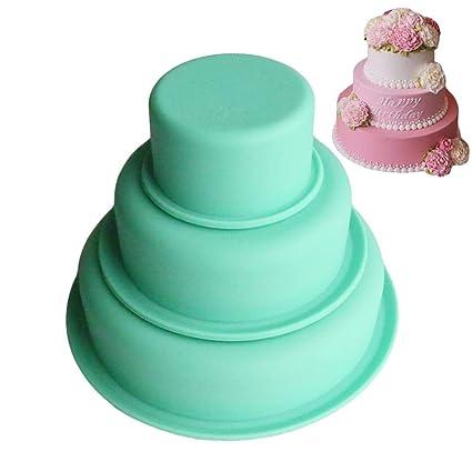 moldes de Silicona para Tartas, 3 Capas DIY Moldes de Tartas Redondos Molde de Pastel