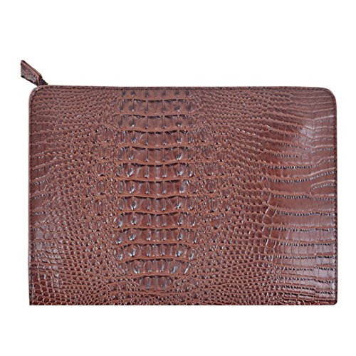 Orfila Oversized Leather Clutch Bag Vintage Crocodile Pattern Envelope Wedding Party Handbag Purse,Coffee
