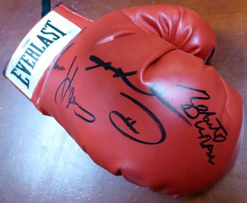 3 Boxing Greats Autographed Boxing Glove Leonard Hearns Duran Rh 112576 PSA/DNA Certified Autographed Boxing Gloves