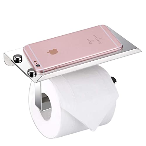 BTSKY Stylish Wall Mounted Anti-rust Stainless Steel Bathroom Tissue Holder/Toilet Paper Holder Tissue Roll Bar with Moblie Phone Holder Stand Shelf Bathroom Accessory