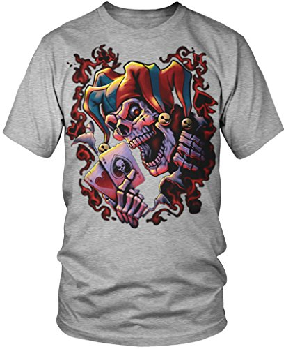 Jester Skeleton, Pair of Aces Men's T-shirt, Amdesco, Athletic Heather Gray 3XL (Jester Skeleton)