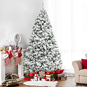 Best Choice Products 6ft Premium Snow Flocked Hinged Artificial Christmas Pine Tree Festive Holiday Decor w/Sturdy Metal Stand - Green 30