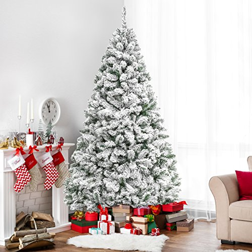 Best Choice Products 6ft Snow Flocked Hinged Artificial Christmas Pine Tree Holiday Decor with Metal Stand, Green]()