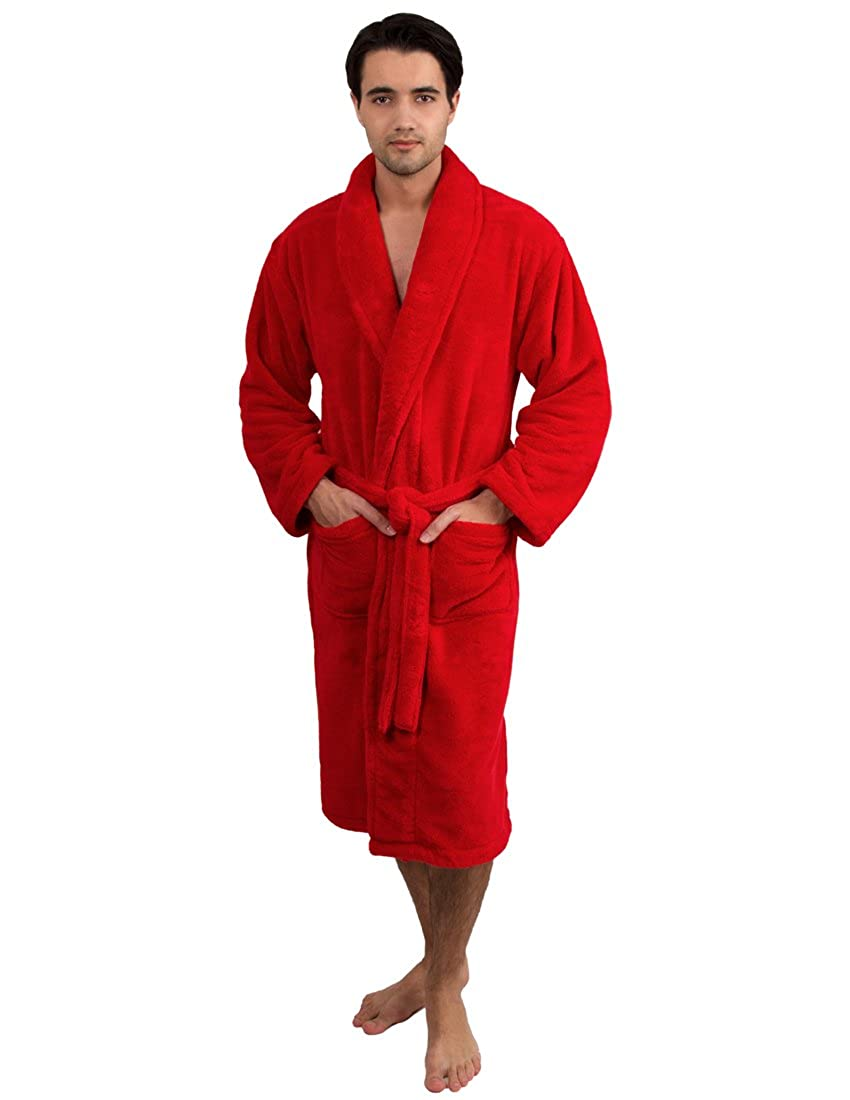 TowelSelections Men's Super Soft Plush Bathrobe Fleece Spa Robe Made in Turkey