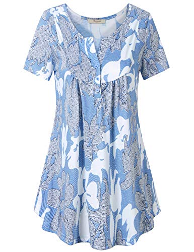 Bebonnie Women's Vintage Short Sleeve V Neck Pleated Tunic Shirt Multicolor_Blue XXL