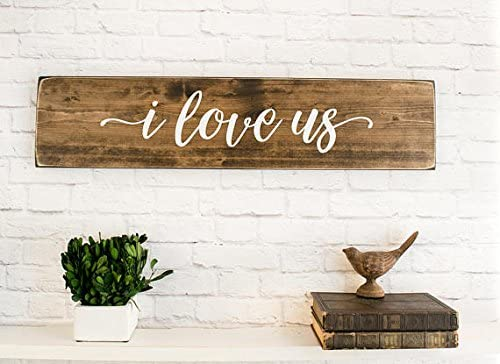 Onepicebest I Love Us Wood Sign Saying Love Quotes For Bedroom Wall Wooden Decor Custom Wedding Signs Natural And White Lettering Home Kitchen