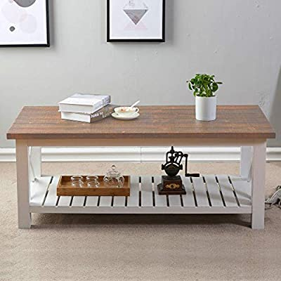 FurniChoi Wood Rustic Coffee Table, Farmhouse Vintage Cocktail Table with Shelf for Living Room