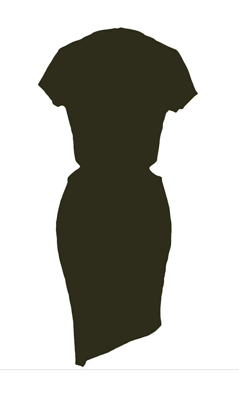 F&Q Real Army Green Sexy Funky Asymmetrical Hemline Cut out Slash Dress
