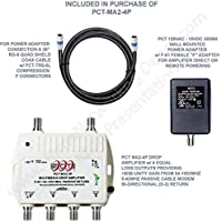 """AMPLIFIER, CATV & OTA SUBSCRIBER PREMISE FOUR OUTPUTS 8dB GAIN 5-1002Mhz W/ 36"""" COAXIAL JUMPER & AC/DC """"POWERING BRICK"""""""