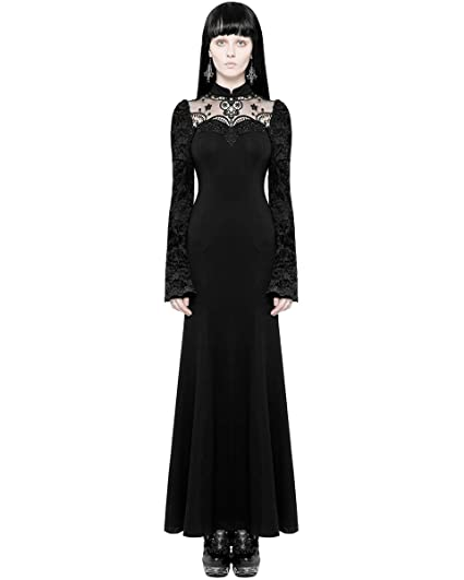 cdeb190c74f Punk Rave Gothic Maxi Dress Black Long Sleeve Embroidered Lace Steampunk  Witch  Amazon.co.uk  Clothing