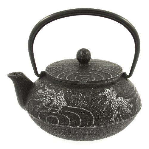 Iwachu Japanese Iron Teapot Tetsubin Silver and Black Goldfish