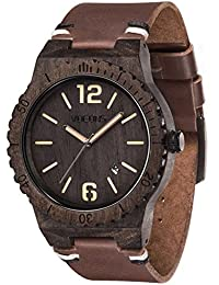 Wooden Watch Leather Wrist Watch - VOEONS Ebony Wood Watch for Men, Analog Quartz Watch with Date