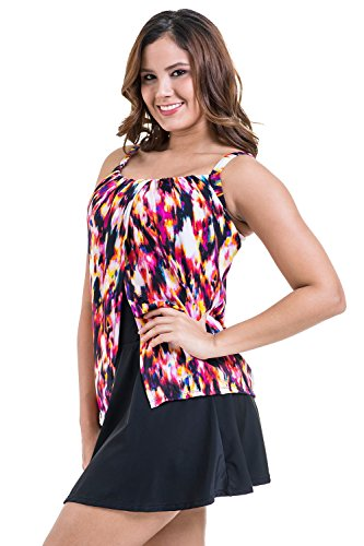 PERONA Women Plus Size Swimdress Two Piece Tankini Swimsuits Tummy Control Swimwear Bathing Suits Swim Skirt Vintage Floral Printed Size 24 -Red ()