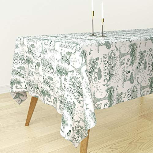 - Green Toile Tablecloth - Toile Civil Rights History Toile De Jouy Children Pastoral Green Nature Green by Sammyk - Cotton Sateen Tablecloth 70 x 90