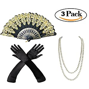 SEWEI 1920s Accessories Set Necklace Gloves Feather fan Holder Flapper Costume for Women (Golden)