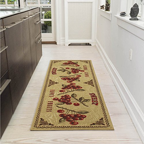 Ottomanson Siesta Collection Kitchen Fruits Design (Non-Slip) Runner Rug, 20