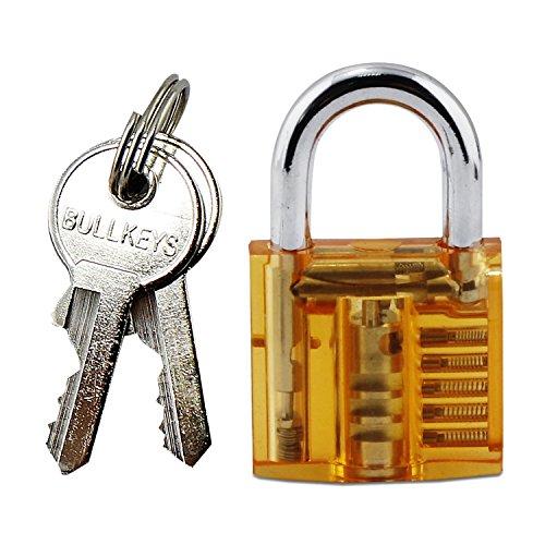 Unlocking Lock Set Pick by Aussel: Komplette Praxis Padlock Set Mit Schlüsseln Transparent Sperre Trainer mit Tragetasche Verwendbar für Anfänger und Profis