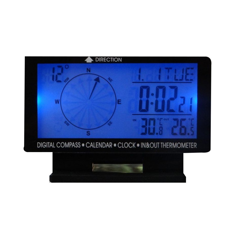 SAVEMORE4U18 4.6' LCD Digital Display Screen Car Compass, Calendar, Clock, in & Out Thermometer with Blue Backlight for Car