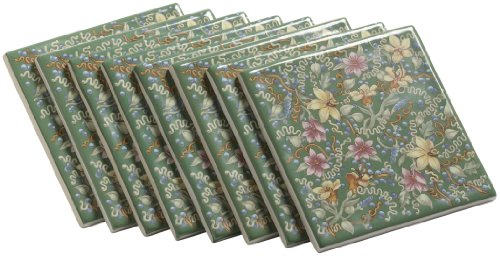 Dense Floral Pattern - Kohler K-14207-FF-0 English Trellis Decorative Field Tile, Green Dense Floral Pattern, White