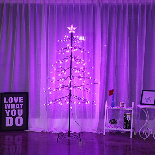 Bolylight 6ft Lighted Tree 198L Bulb with Star Topper Christmas Decorations for Home/Bedroom/Party, Outdoor and Indoor Use Purple
