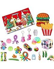 OUCRIY Jul adventskalender fidget toys set 2021 jul nedräkning kalender 24 dagar sensoriska fidgetleksaker pack anti-stress leksaker för barn vuxna