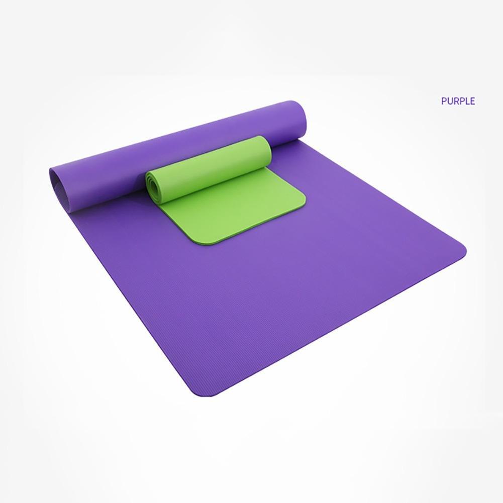 Lmzyan Doppelte Yoga Matte erweitert 130cm, Reine Farbe NBR 10mm Sport Fitness Mat